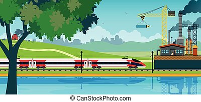 High Speed Train - High speed rail against the backdrop of...