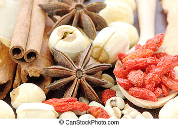 Many kind of Chinese herbal on wood background
