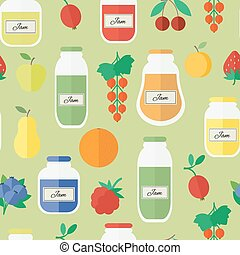 Seamless pattern with jars of jam