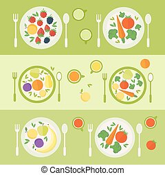 Plates with fruits and vegetables