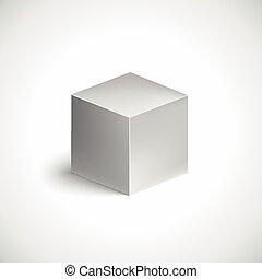 Grey cube on white background.
