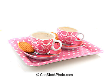 Cheerful pink crockery with coffee - Pink speckles and...