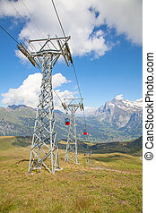 Cable car on the top of Mannlichen (Jungfrau region, Bern,...