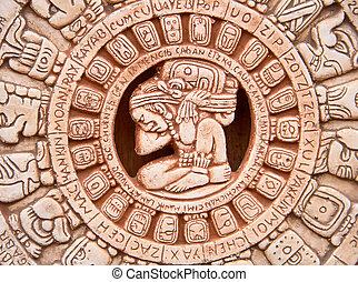 Maya sun - Fragment of the Mayan symbolic sun carved on the...