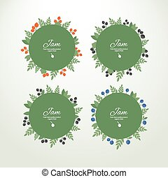 Collection labels with berries - Set of vector circle labels...