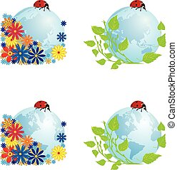 set of globes with ladybird - vector set with illustrations...