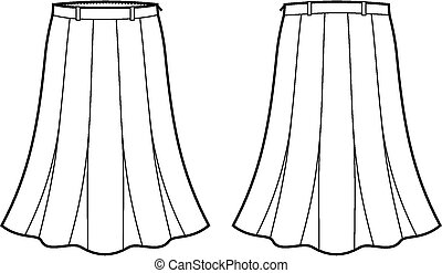 Skirt - Vector illustration of women's skirt. Front and back...
