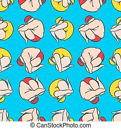 swimming guy and girl spinning seamless pattern
