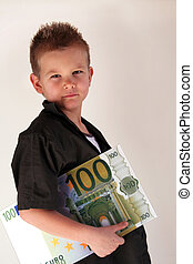 Money Child - Little Child holding 100 Euro in the hands