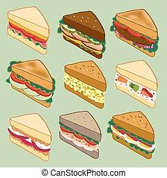 Sandwich variety parade vector illustration for restaurant,...