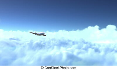 The airplane flies above the clouds