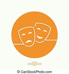 Comic and tragic theatrical mask Drama, tragedy, humor,...