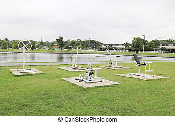 Exercise equipment - Outdoor Exercise equipment in a public...