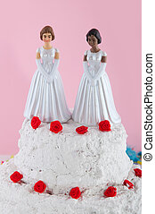 Lesbian wedding couple on top of the cake