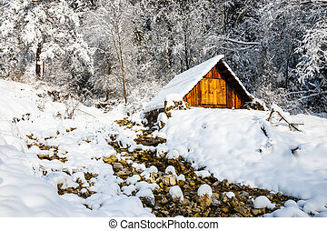 Small hut in the mountains