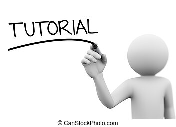 3d person writing tutorial on transparent screen - 3d...