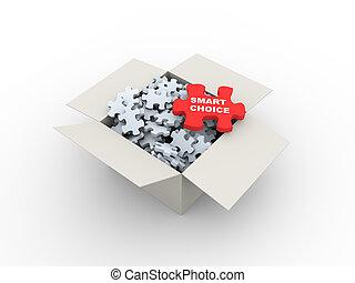 3D, caixa, e, esperto, escolha, Quebra-cabeça,...