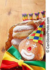 Carnival Donuts Decorated with Hat and Ribbon - Close up...
