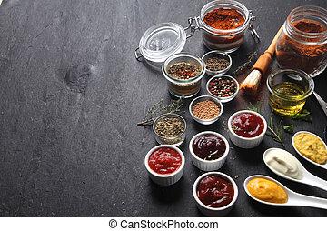 vario, Condimentos, en, tabla, con, copia, espacio,