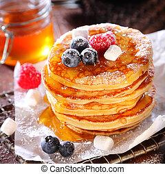 delicioso, desayuno, de, sabroso, baya, panqueques,