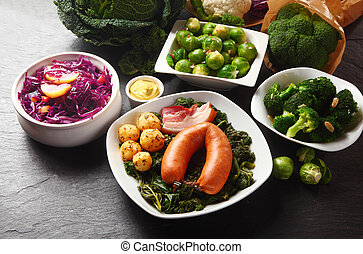 Gourmet German Recipe with Fresh Veggies on Sides - Close up...