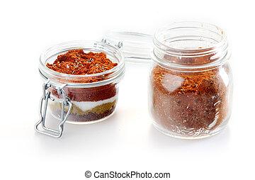 Close up Rub and Marinade Powder on Jars - Close up Rub and...