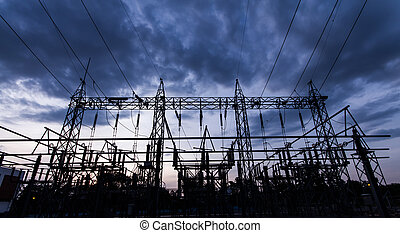 Sub station 11522 kV outdoor type silhouette
