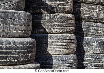 Old Worn Out Tires - Stack of worn out rubber tire