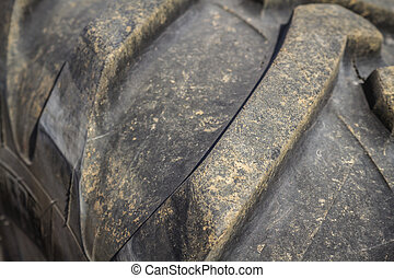 Old Worn Out Tires - Close up of worn out rubber tire