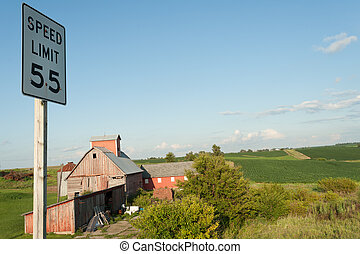 Amana colonies - Red farm in historic Amana colonies in Iowa