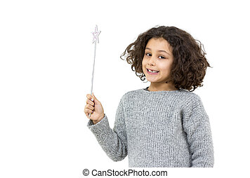 Little girl with magic wand