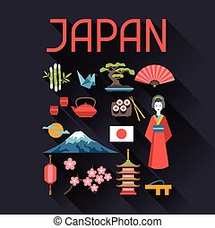 Japan icons and symbols set. Illustration on Japanese theme.