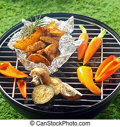 fresco, vegetales, asado a la parilla, encima, Un, barbacoa,...