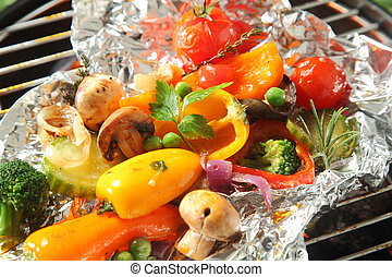 Colorful selection of fresh roasted vegetables
