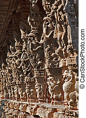 Ancient stone carvings in Varadaraja Temple Kanchipuram,...