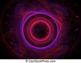 Purple Fractal - Digitally generated fractal texture of...