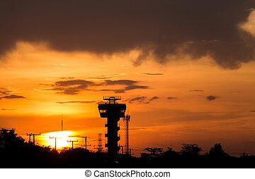 Lot, panowanie, wieża, Na, lotnisko, podczas, Zachód...