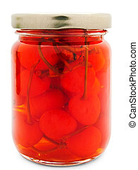 jar with red cherry against the white background