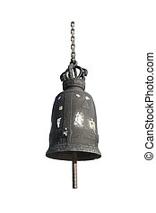 Old bell at chinese temple , di-cut on white background -...