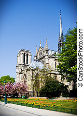 Notre Dame de Paris, France - Facade and apse of cathedral...