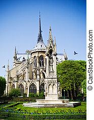Notre Dame de Paris, France - Apse of Notre Dame de Paris,...