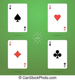 Four aces with shadow on a green background. Vector. Playing...