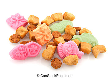 Traditional Sinterklaas candy with pepernoten isolated over...