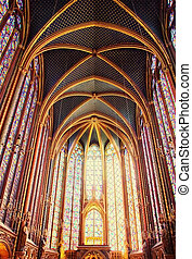 Famous Saint Chapelle in Paris, France - Splendid interior...