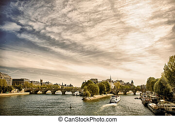 Cite island, view from Seine river, Paris, France - View of...