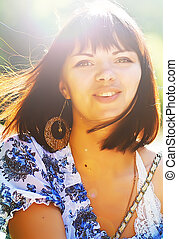 Summer beauty - Beautiful young woman in sunlight