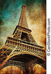 Vintage postcard with Eiffel tower, Paris, France