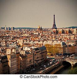Paris cityscape - Beautiful Paris cityscape with Eiffel...