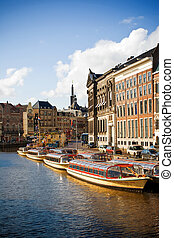 Amsterdam canals - Beautiful view of Amsterdam canals with a...