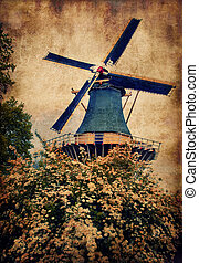 Old mill in Keukenhof, Holland
